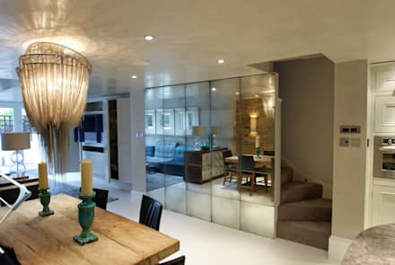 Antique Mirror Glass Feature wall: modern Dining room by Mirrorworks, The Antique Mirror Glass Company
