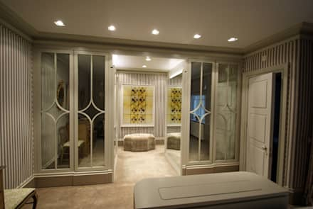 Dressing room with medium antique mirror: modern Dressing room by Mirrorworks, The Antique Mirror Glass Company