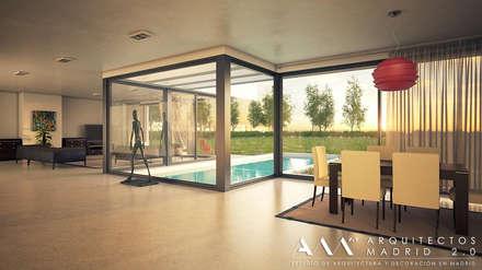 Casa moderna unifamiliar por Arquitectos Madrid 2.0: Salones de estilo minimalista de Arquitectos Madrid 2.0