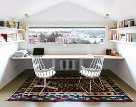 eclectic Study/office by Plastudio