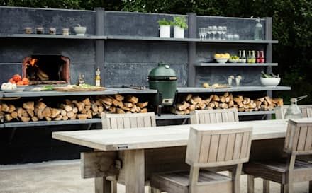 WWOO Concrete Outdoor Kitchen: industriële Tuin door NewLook Brasschaat Keukens