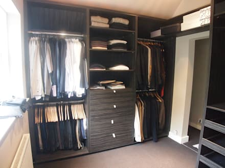 His and Her's dressing room: modern Dressing room by Designer Vision and Sound: Bespoke Cabinet Making