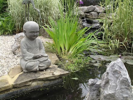 Country Family Garden With Oriental Water Garden: asian Garden by Cherry Mills Garden Design