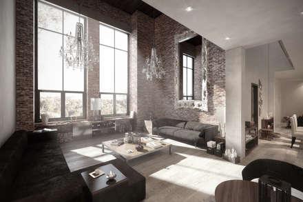 NATURAL LIGHT DESIGN STUDIO – Authentic Lofts: eklektik tarz tarz Oturma Odası