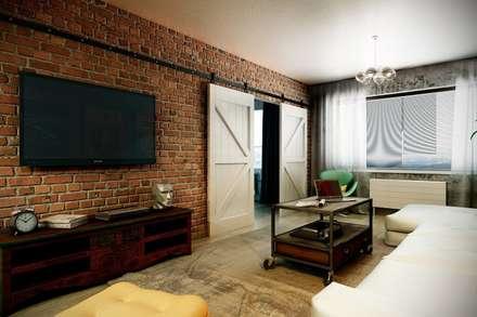 Каменный лофт: Гостиная в . Автор – CO:interior