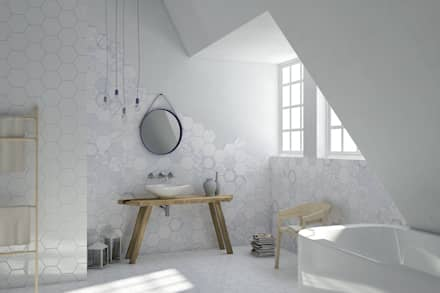 Melograno - Ornamenta: Bagno in stile in stile Moderno di Ceramiche Addeo