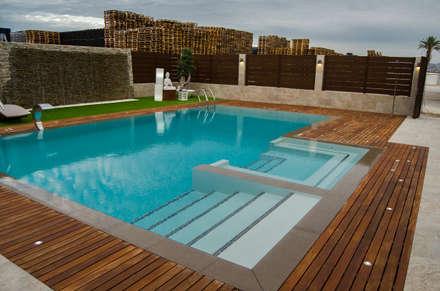 espacio de relajación exterior: Piscinas de estilo moderno de ZimmeR designer