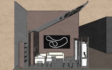 Schizzo in sezione.: Allestimenti fieristici in stile  di Studio Arch. Matteo Calvi