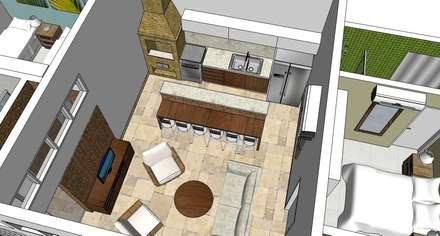 Interior da casa: Salas de estar tropicais por Natali de Mello - Arquitetura e Arte