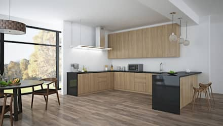 Black American Walnut & Open Plan Living by The Wood Galleries: minimalistic Kitchen by The Wood Galleries