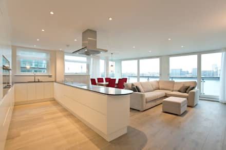 Kitchen, dining area and living room: modern Living room by Temza design and build