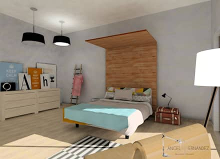 DORMITORIO NÓRDICO : Dormitorios de estilo escandinavo de A|H Decoración e interiorismo