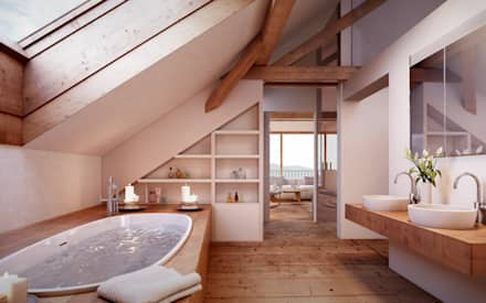 rustic Bathroom by von Mann Architektur GmbH