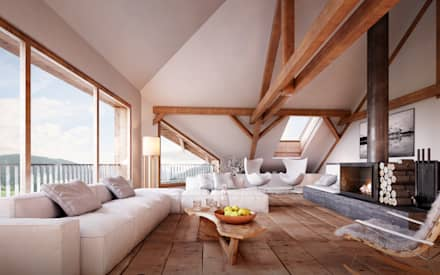 rustic Living room by von Mann Architektur GmbH