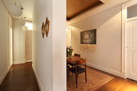 Apartamento Saldanha_Reabilitação Arquitectura + Design Interiores: Salas de jantar ecléticas por Tiago Patricio Rodrigues, Arquitectura e Interiores