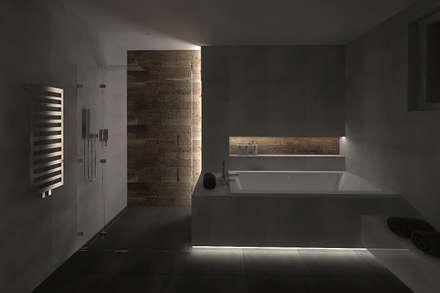 Łazienka w betonie i drewnie: styl , w kategorii Łazienka zaprojektowany przez KRY_