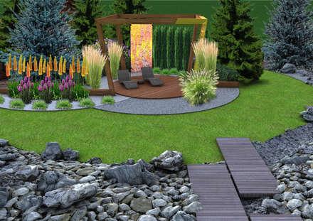 Projekt tarasu i pergoli - Wersja 1.: styl , w kategorii Ogród zaprojektowany przez UNICAT GARDEN