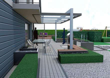 Projekt tarasu i pergoli -  Wersja 2: styl , w kategorii Ogród zaprojektowany przez UNICAT GARDEN