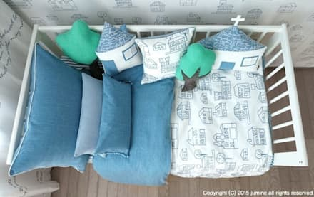 WOORI ZIP BEDDING (BLUE): jumine의  아이방