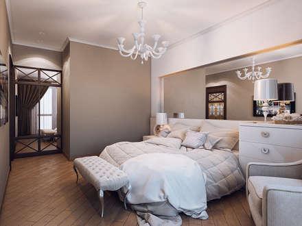 Квартира в стиле фьюжн: Спальни в . Автор – Дизайн студия 'Чехова и Компания'