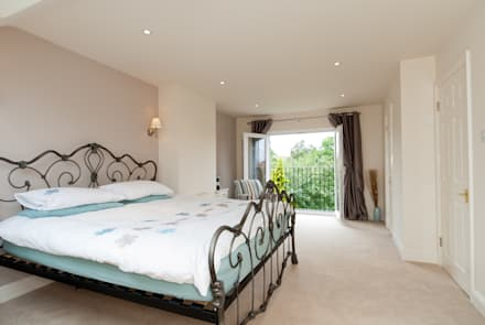 Master Room with French Doors : mediterranean Bedroom by A1 Lofts and Extensions