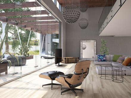 Casona Porcelánico imitación a madera: Salones de estilo moderno de INTERAZULEJO