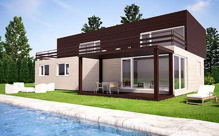 Vista trasera de la Cube de 250 m2 + 50 m2 de terraza: Casas de estilo moderno de Casas Cube
