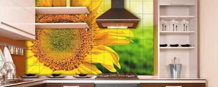 Sunflower Mural: eclectic Kitchen by Tile Fire Ltd.