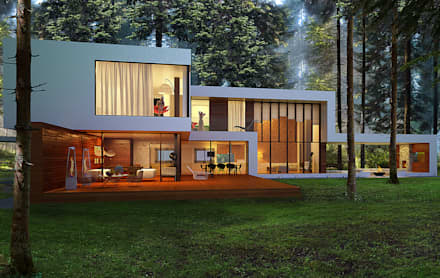Дом в поселке Брюховичи: Дома в . Автор –  Aleksandr Zhydkov Architect