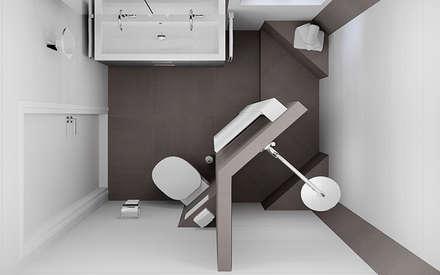 Bovenaanzicht van het badkamerontwerp voor de kleine badruimte: moderne Badkamer door Sani-bouw