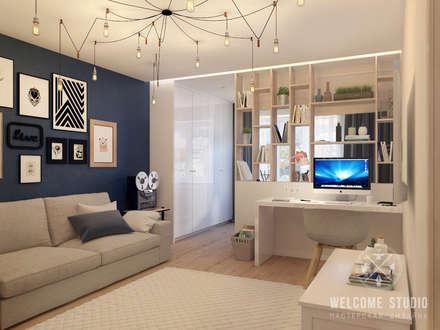 Гостиная, ракурс 1: Гостиная в . Автор – Мастерская дизайна Welcome Studio