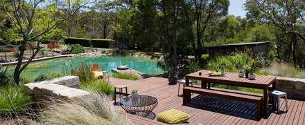 Bio-Schwimmteich mit Holzterrasse: klassischer Pool von Paul Marie Creation