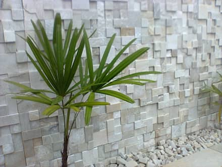 Mosaico de São Tomé Branco : Jardins modernos por DECOR PEDRAS PISOS E REVESTIMENTOS