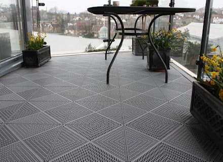 Bergo Unique tiles balcony floor:  Terrace by Ecotile Flooring
