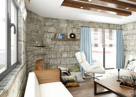 ROAS ARCHITECTURE 3D DESIGN – The Fireplace: akdeniz tarzı tarz Oturma Odası