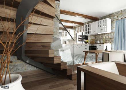 ROAS ARCHITECTURE 3D DESIGN – Stairs Detail: modern tarz Oturma Odası