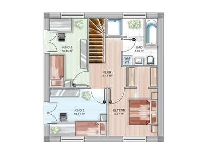 ICON CUBE Grundriss1: moderne Schlafzimmer von Dennert Massivhaus GmbH