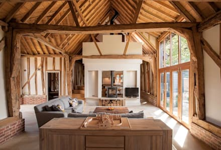 Main 17th Century Barn Space: country Living room by Beech Architects