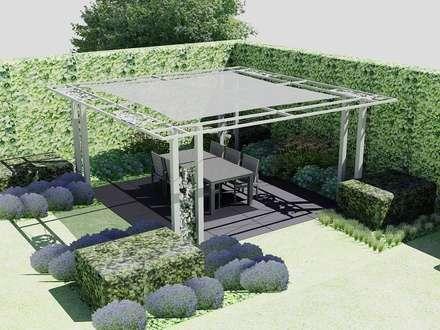 Schaduwlounge over het terras: industriële Tuin door Bladgoud-tuinen