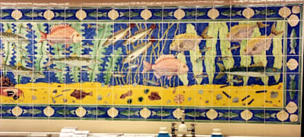 Waitrose fish panel 2:  Shopping Centres by Reptile tiles & ceramics