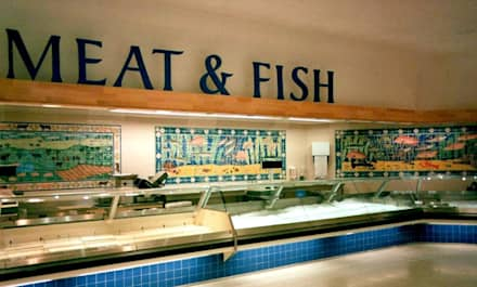 Fish and meat tile panels:  Shopping Centres by Reptile tiles & ceramics