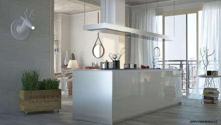 Spazio cucina e living: Cucina in stile in stile Moderno di Onlydesign