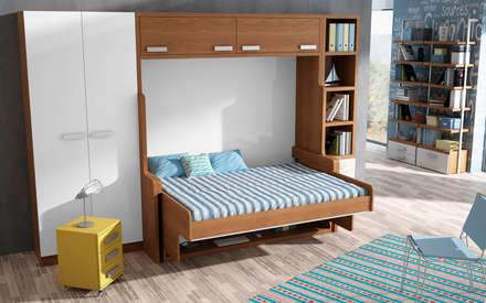 MUEBLE CAMA ABATIBLE CON ESCRITORIO, PARA CAMA DE MATRIMONIO: Dormitorios de estilo moderno de Muebles Parchis. Dormitorios Juveniles.