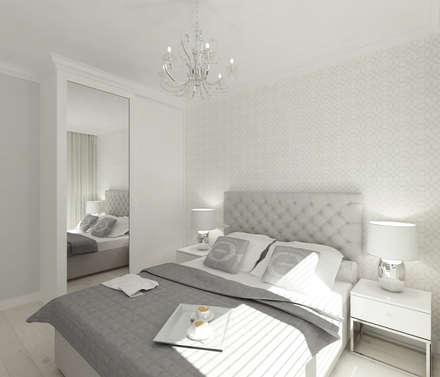 Skandynawskie biele i szarości.: styl , w kategorii Sypialnia zaprojektowany przez 4ma projekt