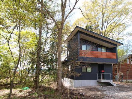 入口 ガルバリウム鋼板の外観: 大庭建築設計事務所が手掛けた家です。