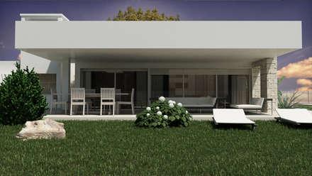 Stone&Glass House - Esterno: Case in stile in stile Moderno di De Vivo Home Design
