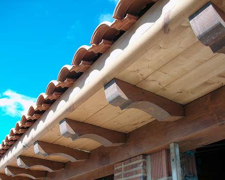 Elegante remate de alero con panel de madera.: Casas de estilo clásico de panelestudio