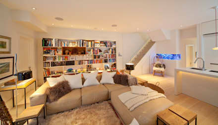 Basement Family Room: modern Living room by Gullaksen Architects