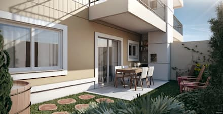 بلكونة أو شرفة تنفيذ Lodo Barana Arquitetura e Interiores