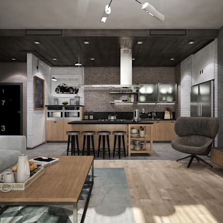 industrial Living room by Pavel Alekseev